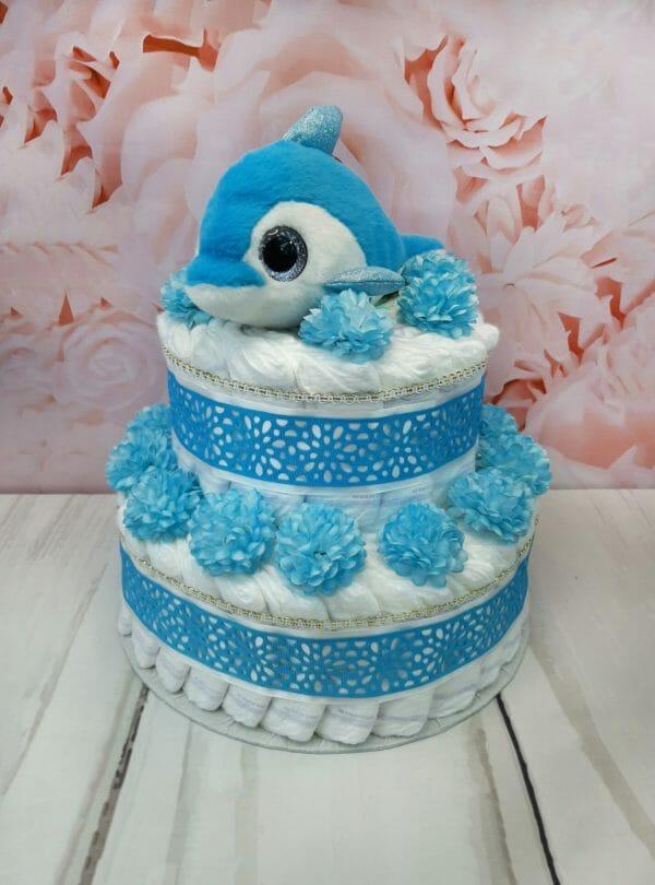 sinine mähkmetort delfiiniga